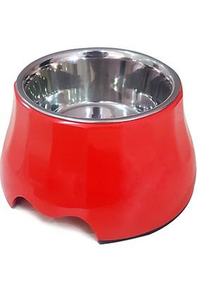 Pet Loves Melamin Çelik Mama Kabı Yükseltili Kırmızı 400 ml