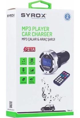 Syrox Fm Transmitter MP3-USB ve Araç Şarjı 2.1A - Syx - TM41