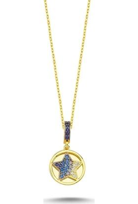 Bakalcik Nano Taşlı Yıldız Gümüş Kolye
