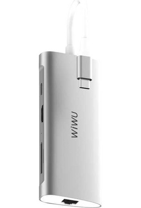 Wiwu Alpha 831HRT Type-C Grişli USB'li Dönüştürücü Hub Gri