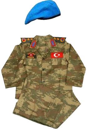Işık Asker Çocuk Komando Kıyafeti Kamuflaj Mavi Bereli Takım