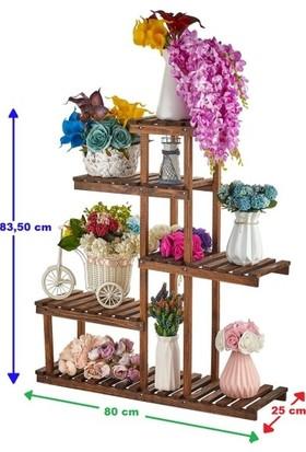 Ince Çizgi Çok Amaçlı Ahşap Merdiven Model Çiçeklik 5 Katlı