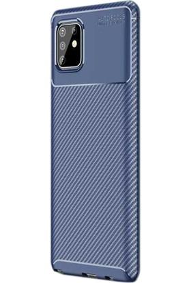Gpack Samsung Galaxy Note 10 Lite Kılıf Negro Karbon Dizayn Silikon Lacivert