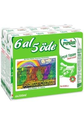 Pınar Tam Yağlı Süt 6x200 ml