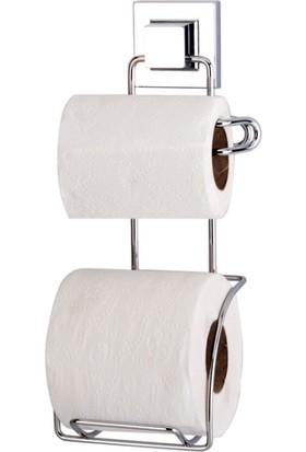 Evistro Tuvalet Kağıdı Askısı 2 Raf Yedekli Krom Easyfix Kendinden Yapışkanlı
