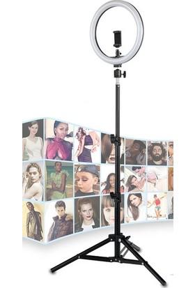 "Asfal 10"" Halka LED Tripod 210 cm Youtuber Video Selfie Stüdyo Makyaj Işığı"