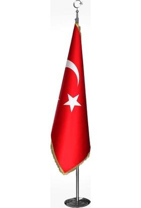 Bayrakal Makam Türk Bayrağı + Krom Makam Direği (Takım)