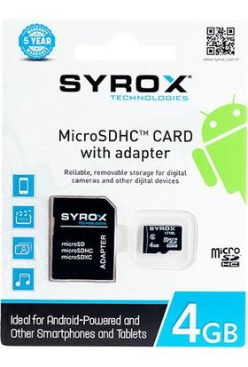 Syrox MC4 4GB Micro SD Card Hafıza Kartı + Adaptörü