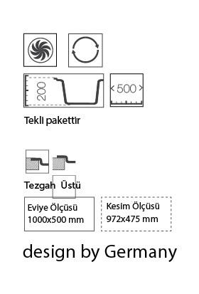 Ukinox Arya D100 Siyah Tezgahüstü Granit Mutfak Evyesi