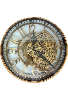 Evim Tatlı Evim Çarklı Metal Bakır Kaplama Duvar Saati 50cm