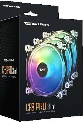 DarkFlash CF8 Pro 3Pin A-RGB 3x12CM Fan Kit (3'lü) + Kontrolcü + Uzaktan Kumanda