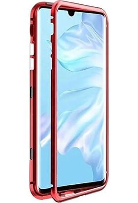 Case Street Huawei Y9 Prime 2019 Kılıf Manyetik Cam 2in1 Arka Cam Kırmızı