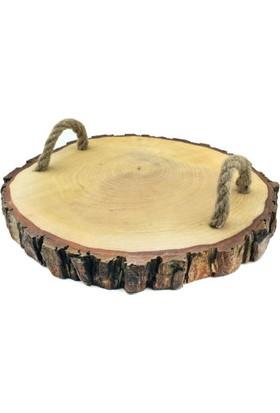 Acar Süs Ağaç Kütük Yuvarlak Ipli Tepsi