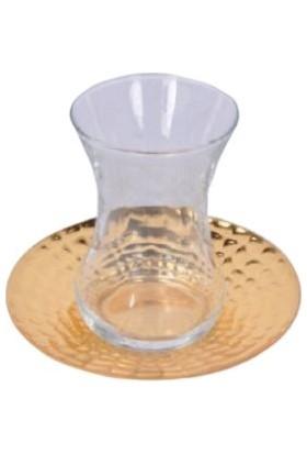 Zücace Çay Tabağı Dövmeli Altın Renk 6'lı