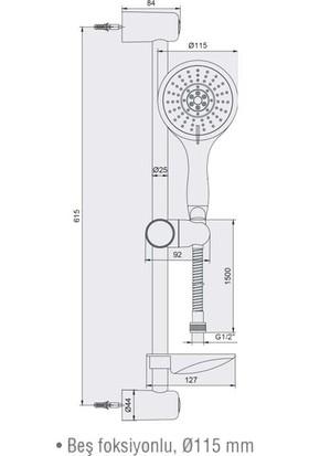 Ar Tilia Hareketli Üst Takım 5 Fonksiyonlu Duş Seti