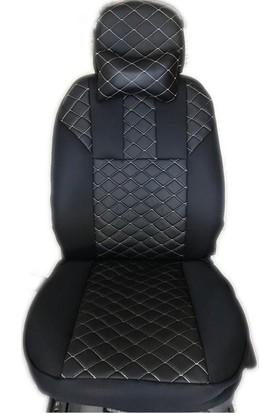 Otozum Peugeot Bipper Deri Oto Koltuk Kılıfı Siyah - Beyaz Nakışlı