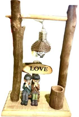 Vezir Ahşap Dekoratif Ban Oturan Sevgililer Işıklı 14 x 22 cm