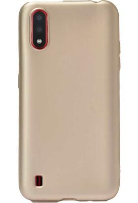 Case 4U Samsung Galaxy A01 Kılıf Mat Silikon Lüks Arka Kapak Premier + Cam Ekran Koruyucu Altın