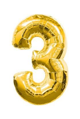 Acar Süs 3 Rakamı Altın Folyo Balon 40 Inch 90 cm