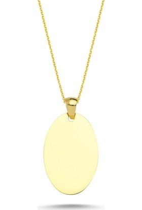 Aypa Mücevher Sarı Altın Oval Plaka Kolye
