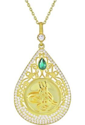 Takı Dükkanı Gümüş Tuğra Kolye Taşlı Zincirli Altın Kaplama 10GR WSN164