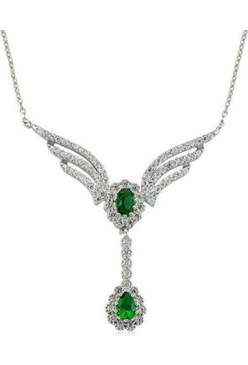 Takı Dükkanı Yeşil Taşlı Bayan Gümüş Kolye SGK44
