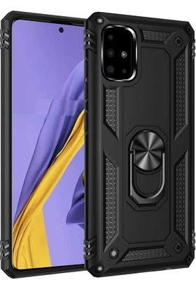 Kilifve Samsung Galaxy A51 Kılıf Zırhlı Standlı Mıknatıslı Silikon Vega Kapak - Siyah