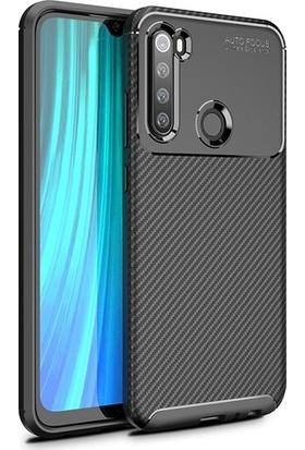 Beğenseç Xiaomi Redmi Note 8 Kılıf Karbon Desenli Lux Negro Silikon + Cam Ekran Koruyucu - Siyah