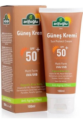 Arifoğlu Güneş Kremi 50+ Organik Aloe Veralı Anti Aging 100ml