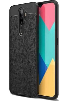 Tbkcase Oppo A5 2020 Kılıf Deri Dokulu Silikon + Nano Ekran Koruyucu Siyah