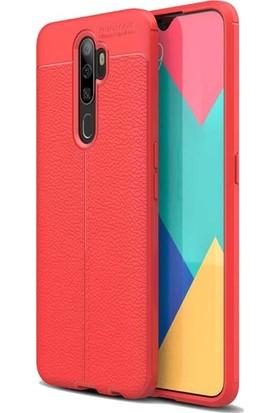 Tbkcase Oppo A5 2020 Kılıf Deri Dokulu Silikon + Nano Ekran Koruyucu Kırmızı