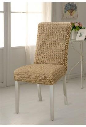 Altın Kelebek Sandalye Kılıfı Likralı Bürümcük Vizon
