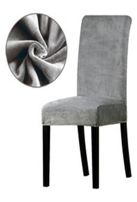 Bella Home Sandalye Kılıfı Kadife Gri