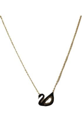 Fashion Jewelry Zirkon Kuğu Kolye Siyah