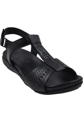 Venüs 252Y Deri Kadın Siyah Sandalet