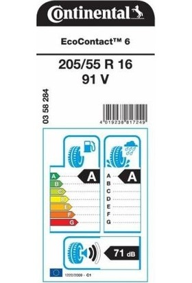 Continental 205/55 R16 91V Contiecocontact 6 Oto Yaz Lastik (Üretim Yılı: 2020)