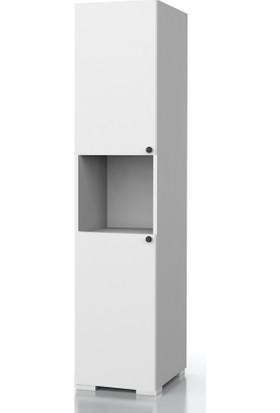 Dekorex BNY103BEYAZ İki Kapaklı Yüksek Banyo Dolabı