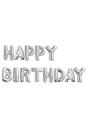 Happy Birthday Gümüş Harf Folyo Balon Set
