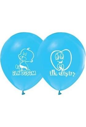 Partiniseç İlk Dişim 16 Lı Mavi Erkek Baskılı Balon Diş Buğdayı Yazılı Balon