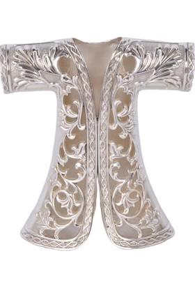 Zücace Dekoratif Kaftan Işlemeli Gümüş Renkli