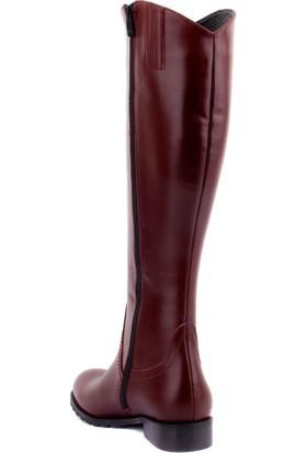 Sail Laker's Bordo Deri Fermuarlı Kadın Çizme