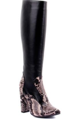 Sail Laker's Siyah Deri Desenli Fermuarlı Kadın Çizme