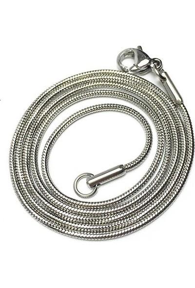 Enes Store Erkek Çelik Kolye Zincir Yılan Snake Yuvarlak Model 65 Cm