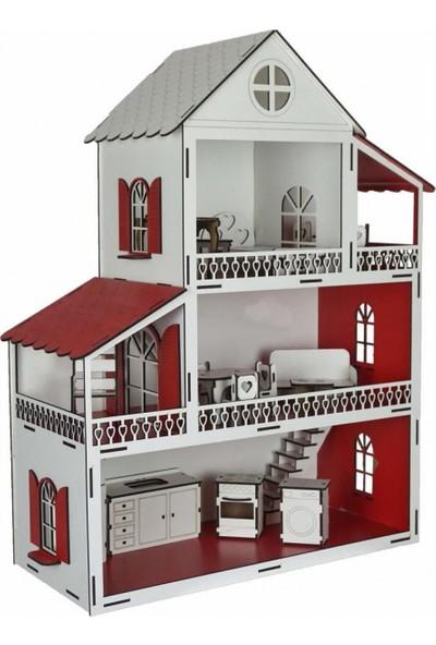 Woody Life Ahşap Oyuncak Ev Portatif Bebek Evi - Lol Bebek Barbie Uyumlu Kırmızı