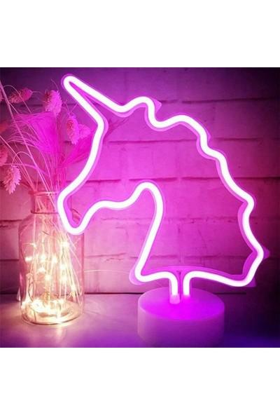 Öztoptan Unicorn Görselli Dekoratif Neon LED Masa ve Gece Lambası