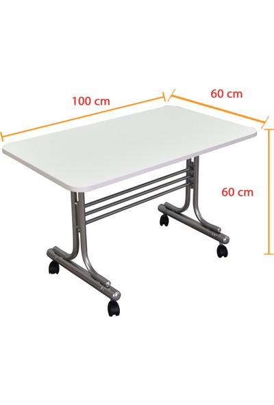 Iyimi Pratik Tekerlekli Orta Sehpa Metal Ayaklı Masa 60X100 (Beyaz)