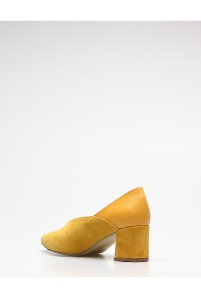 Rovigo Plus Kadın Hardal Topuklu Ayakkabı