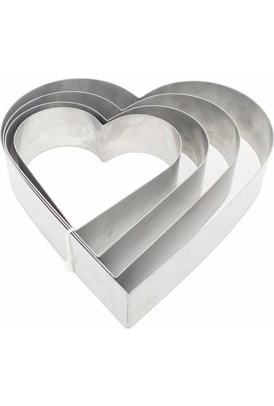 Karadağ Kalp Çember 4'lü Pasta - Kek Kalıbı - Metal Pasta Kazıyıcı