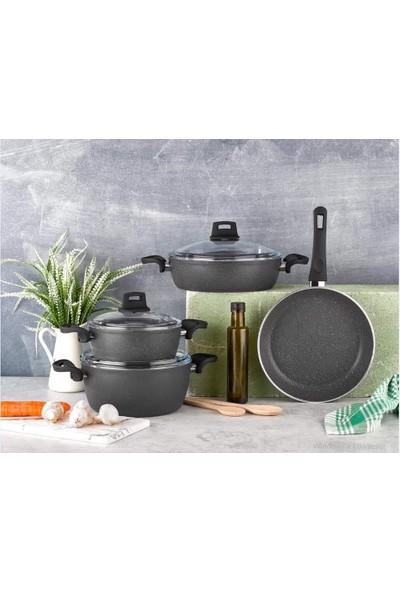 Eda Cookware 7 Parça Granit Gri Tencere Seti