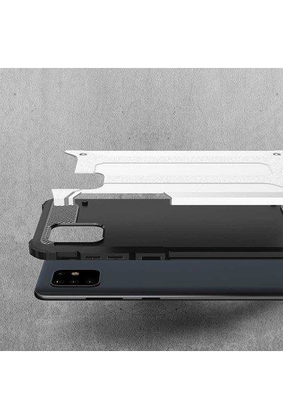 Case 4U Samsung Galaxy Note 10 Lite Kılıf Çift Katmanlı Zırh Koruma Tank Crash + Nano Cam Ekran Koruyucu Kırmızı
